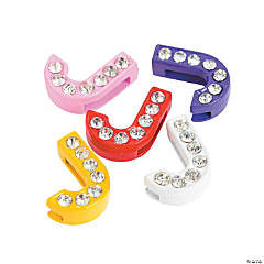 Small Rhinestone Letter Slide Charms - J