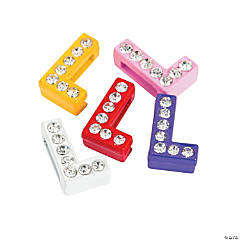 Small Rhinestone Letter Slide Charms - L