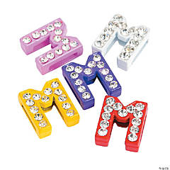 Small Rhinestone Letter Slide Charms - M