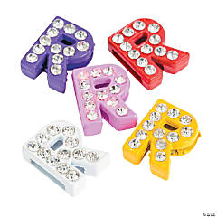 Small Rhinestone Letter Slide Charms - R