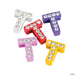 Small Rhinestone Letter Slide Charms - T
