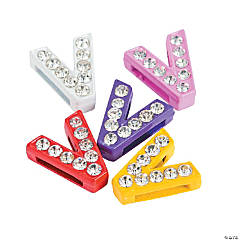 Small Rhinestone Letter Slide Charms - V