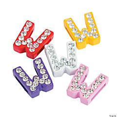Small Rhinestone Letter Slide Charms - W