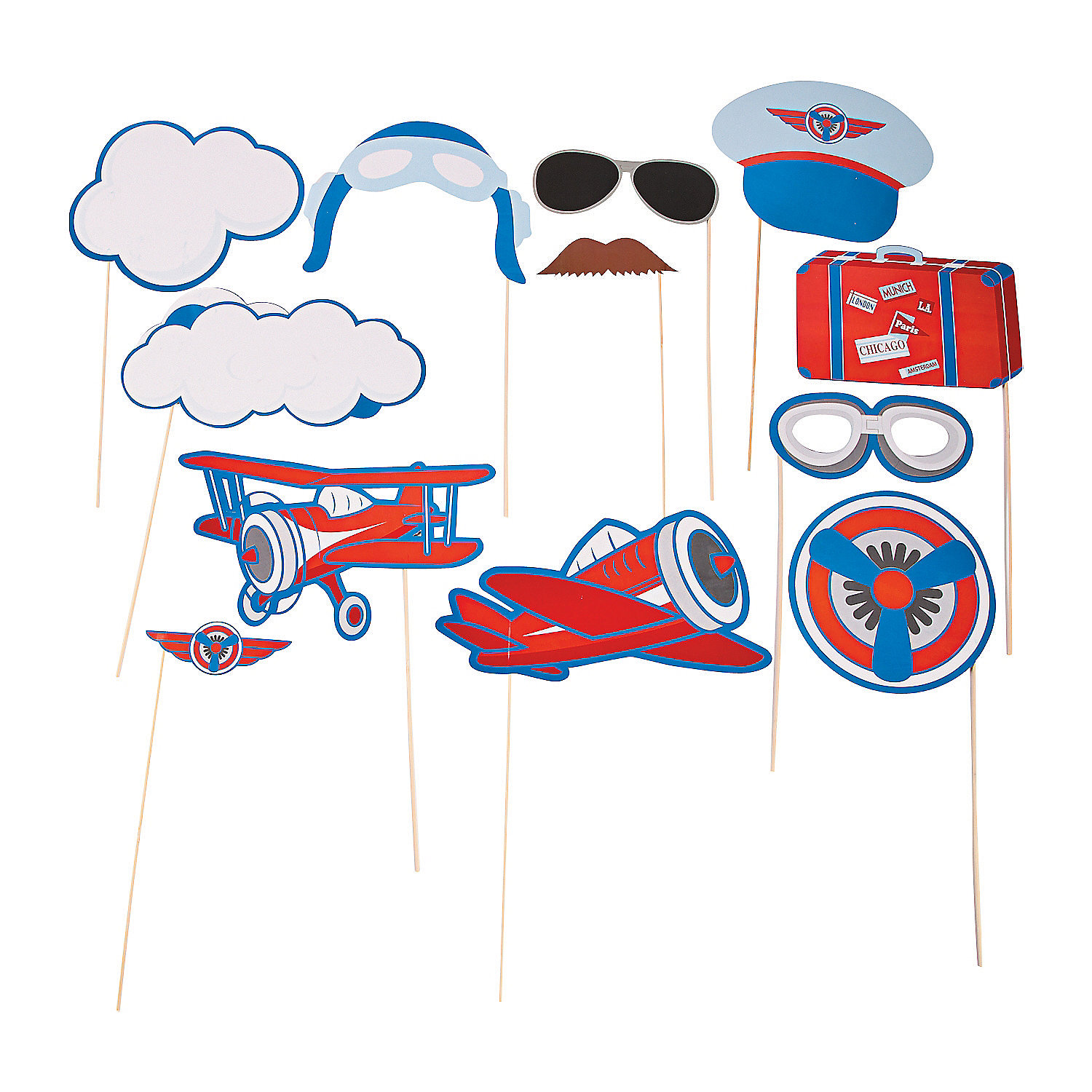 35 Pilot Party Props Airplane Party Diy Printable Photo Booth: Up & Away Photo Stick Props, Photo Booth Props, Costume