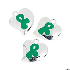 Heart-Shaped Green Awareness Ribbon Charms