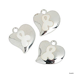 Heart-Shaped White Awareness Ribbon Charms