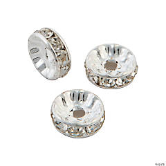 Clear Rhinestone Rondelles - 8mm