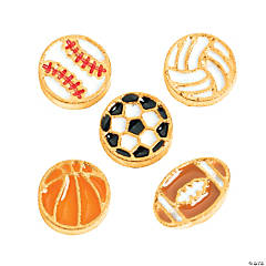 Goldtone Sport Ball Floating Charms