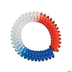 Red, White & Blue Phone Cord Spiral Bracelets