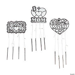 Plastic I Heart Mom Suncatcher Wind Chimes
