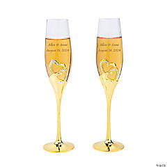 Personalized Gold Stacked Heart Wedding Flutes