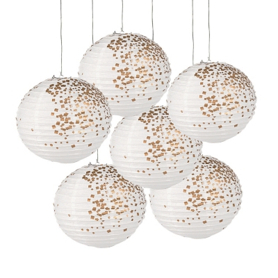 White & Gold Patterned Paper Lanterns