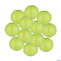 Mini Lime Green Paper Lanterns - 4 1/2