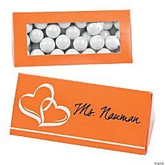 Orange Wedding Place Card Favor Boxes