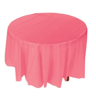 Merveilleux Quickview · Image Of Coral Round Plastic Tablecloth With Sku:13697823