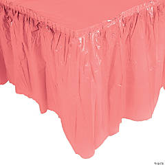 Plastic Coral Pleated Table Skirt