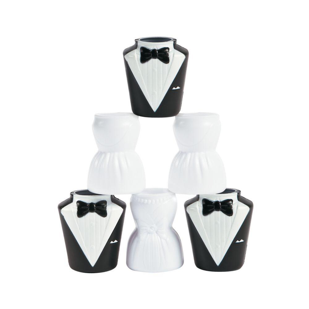 Molded Bride & Groom Shot Glasses