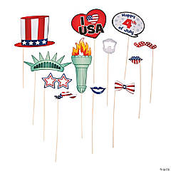 Paper Patriotic Photo Stick Props