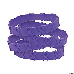 Purple Awareness Ribbon Pop-Out Bracelets