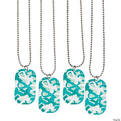 Teal Ribbon Camouflage Dog Tag Necklaces
