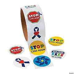 Child Abuse Awareness Roll Stickers