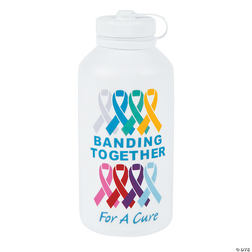 Cancer awareness vinyl water bottles