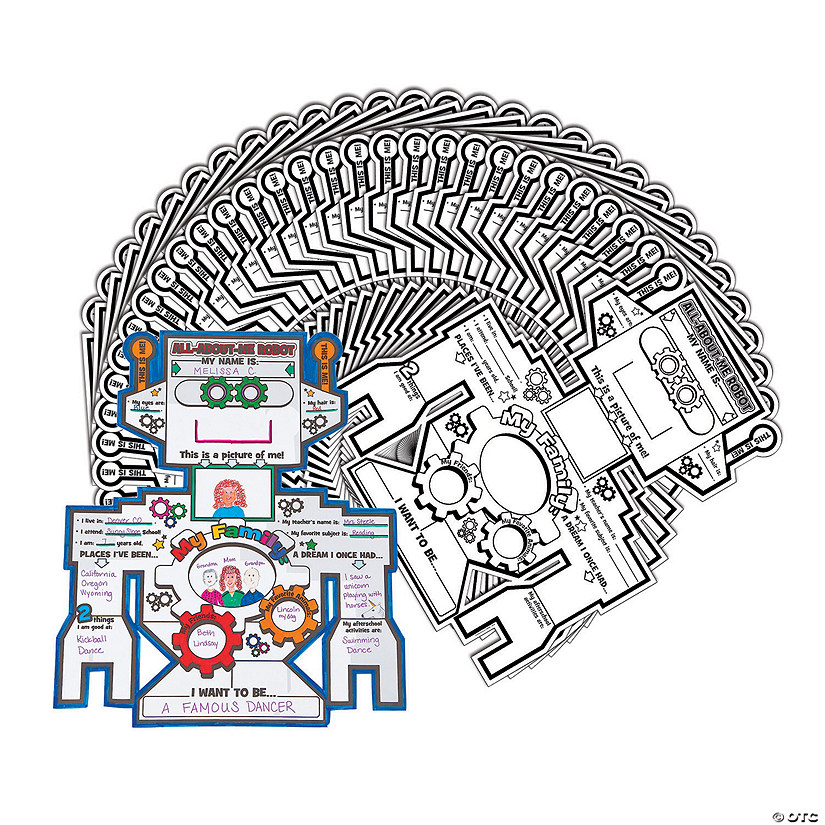 """Color Your Own """"All About Me"""" Robots & Gears Posters"""