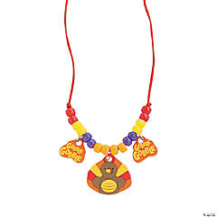Wooden Turkey Beaded Necklace Craft Kit