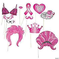 Pink Ribbon Photo Stick Props