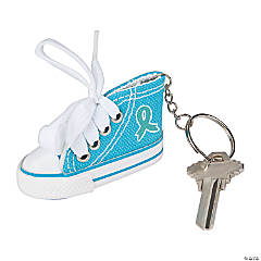 Teal Awareness Ribbon Sneaker Key Chains