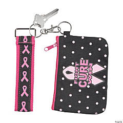 Pink Ribbon Coin Purse Key Chain Set