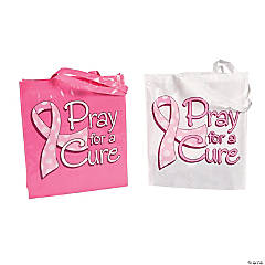 Laminated Pray For A Cure Tote Bags