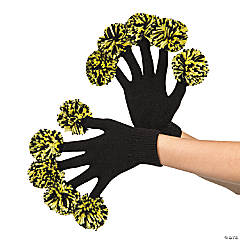 Team Yellow & Black Spirit Pom-Pom Gloves