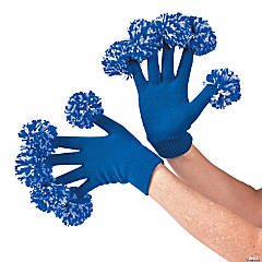 Team Spirit Blue & White Pom-Pom Gloves