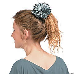 Team Spirit Silver Metallic Hair Pom-Pom