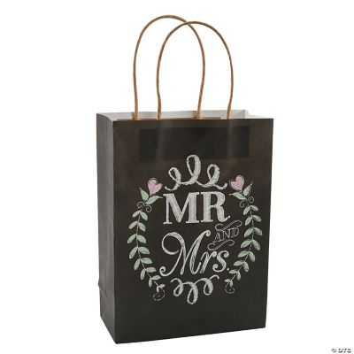 Wedding Gift Bags Online : Mr. & Mrs. Chalkboard Wedding Kraft Bags