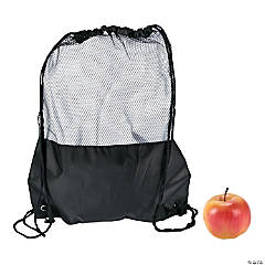 Black Mesh Drawstring Backpack
