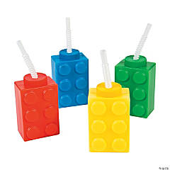 Color Brick Party Molded Cups with Straw & Lid