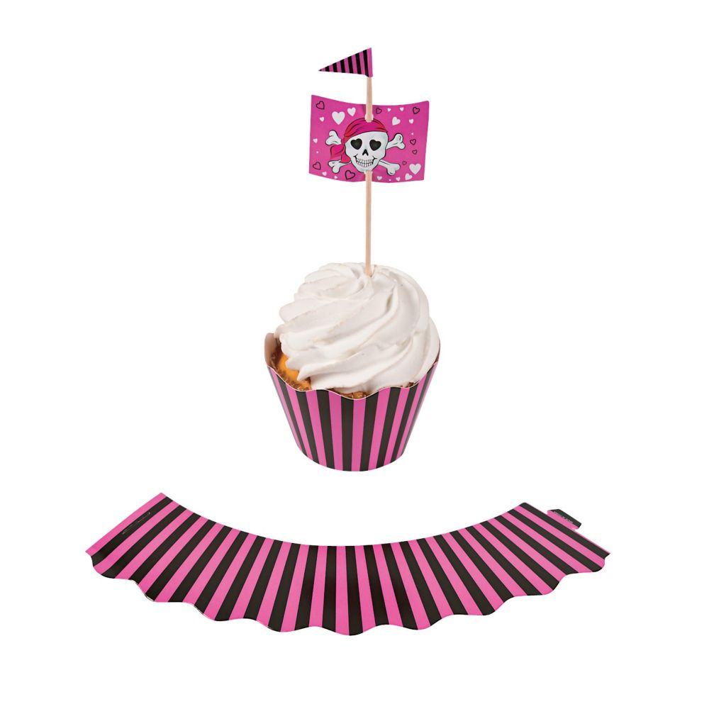 pink pirate cupcake toppers and wrappers