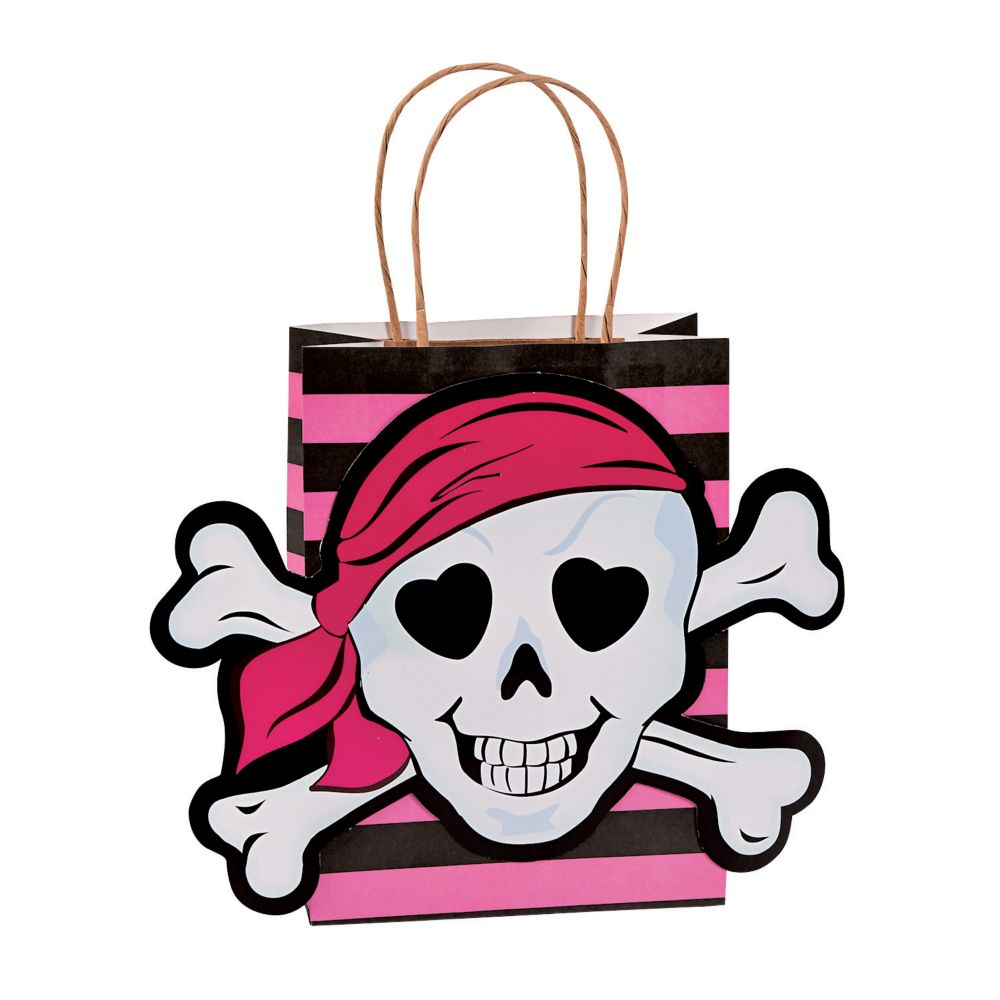 pink pirate party favor bag