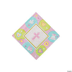 Pink Sweet Christening Beverage Napkins