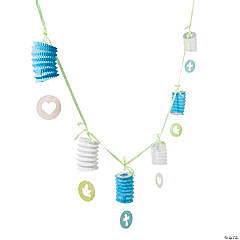 Blue Sweet Christening Lantern Garland