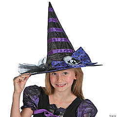 Polyester Child's Black & Purple Witch Hat