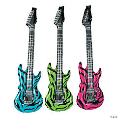 Inflatable Large Neon Zebra Print Guitars