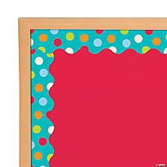 Colorful Dots on Turquoise Bulletin Board Borders