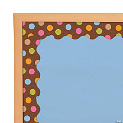 Colorful Dots on Brown Bulletin Board Borders