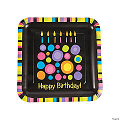 Birthday Cake Dots Dinner Plates