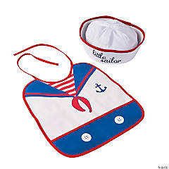 1st Birthday Sailor Bib & Hat Set