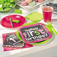 1st Birthday Girl Chalkboard Party Supplies