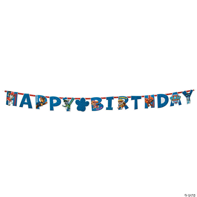 Paw Patrol Add An Age Jumbo Letter Happy Birthday Paper Banner